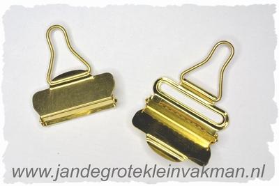 Tuinbroek (salopet) sluitingen, 40mm  breed, 2 stuks, goud