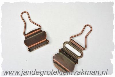 Tuinbroek (salopet) sluitingen, 25mm  breed, 2 stuks, brons