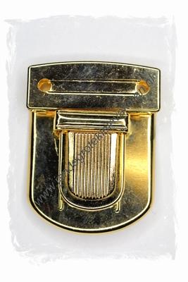 Koffersluiting, metaal, goudkleurig, 52x40mm