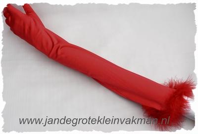 Satijnen gala handschoenen, stretch, ca 55cm, rood