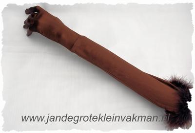 Satijnen gala handschoenen, stretch, ca 55cm, bruin