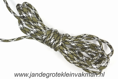 Capuchonkoord, olijfgroen/grijs