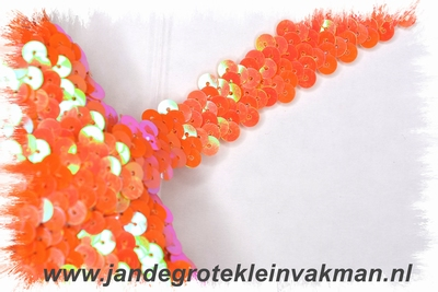 Band (pailletten) elastisch, ca. 20mm breed, oranje / goud