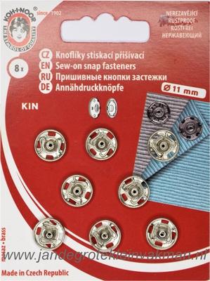Naaidrukkers zilver 11mm, 8 stuks