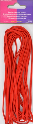 Veterkoord, imitatieleer breedte 3mm lengte 5mtr, rood