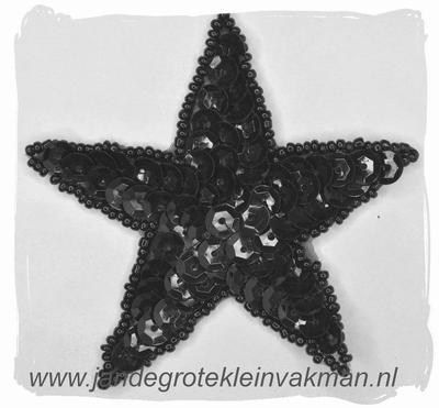 Applicatie ster met pailleten, opnaaibaar, zwart, 75mm