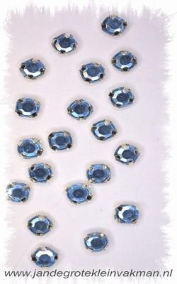 Glittersteentjes transparant met facet, 5mm, 20st, l-blauw