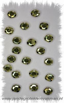 Glittersteentjes transparant met facet, 5mm, 20st, l-groen