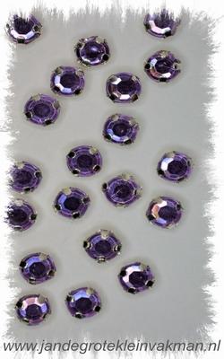 Glittersteentjes transparant met facet, 5mm, 20 st, paars
