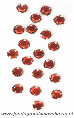 Glittersteentjes transparant met facet, 5mm, 20st, rood