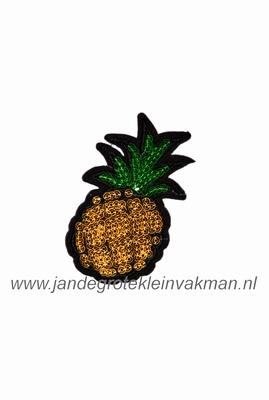 Applicatie met pailleten, opnaai- opstrijkbaar, ananas S