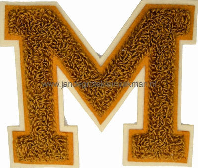 Baseball applicatie, letter M, bruin
