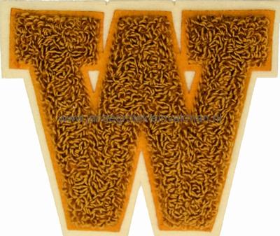 Baseball applicatie, letter W, bruin