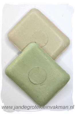 Kleermakerskrijt, twee blokjes, wit en groen
