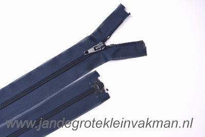Deelbare rits, fijne tand, 30cm, donkerblauw