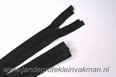 Deelbare rits, fijne tand,45cm, zwart
