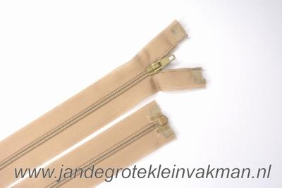 Deelbare rits, fijne tand, 55cm, beige