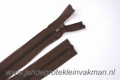 Deelbare rits, fijne tand, 55cm, bruin
