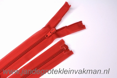 Deelbare rits, fijne tand, 55cm, rood