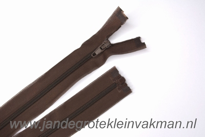 Deelbare rits, fijne tand, 60cm, bruin