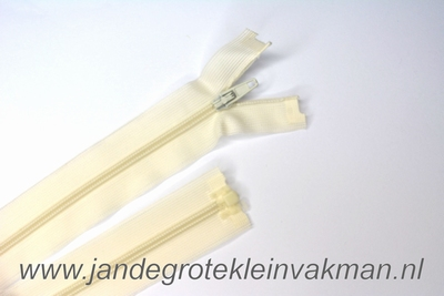 Deelbare rits, fijne tand, 60cm, offwhite