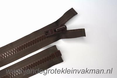 Deelbare rits, extra grove bloktand, 65cm, bruin