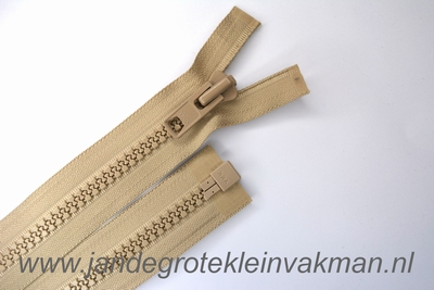 Deelbare rits, extra grove bloktand, 75cm, beige