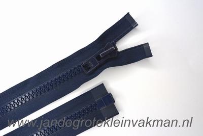 Deelbare rits, extra grove bloktand, 75cm, marine