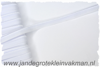 Pipingband, elastisch, 5mm breed, wit, per meter