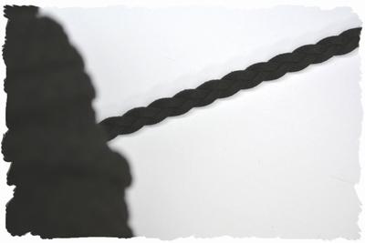 Gevlochtenveterkoord, 5mm breed, zwart, per meter