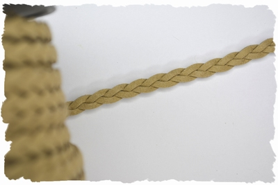 Gevlochten veterkoord, 5mm breed, beige, per meter