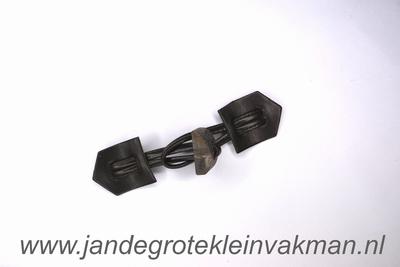 Houtje touwtje sluiting, ca. 150x32mm, kuntstleer