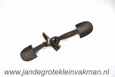 Houtje touwtje sluiting, ca. 200x35mm, kuntstleer
