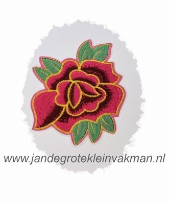Fraaie bloemapplicatie, 120mm x 95mm, met donkerrood bloembl