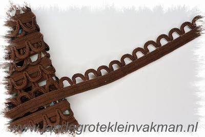 Elastisch lusjesband, 15mm breed, lusje 10mm, bruin