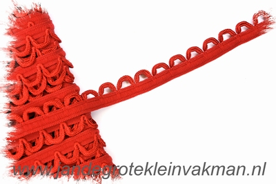 Elastisch lusjesband, 15mm breed, lusje 10mm, rood
