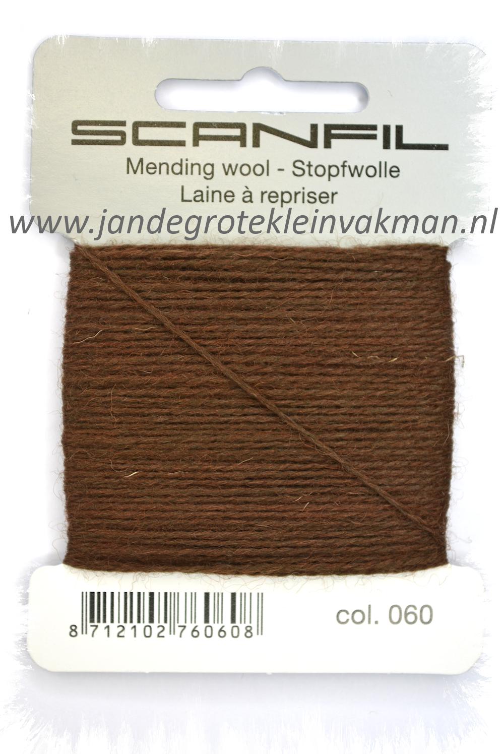 Stopwol, per kaartje van 15 meter, bruin