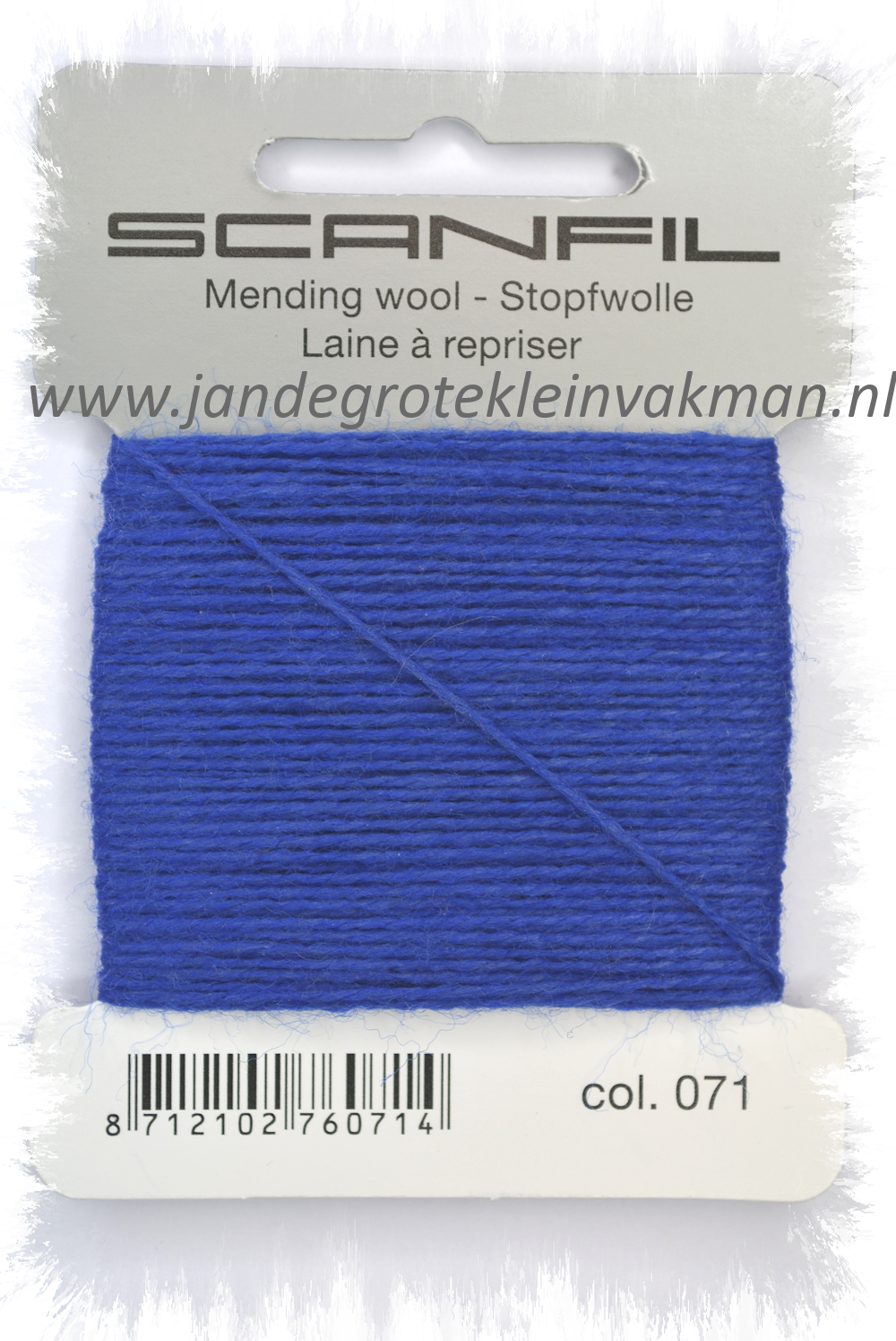 Stopwol, per kaartje van 15 meter, kobaltblauw