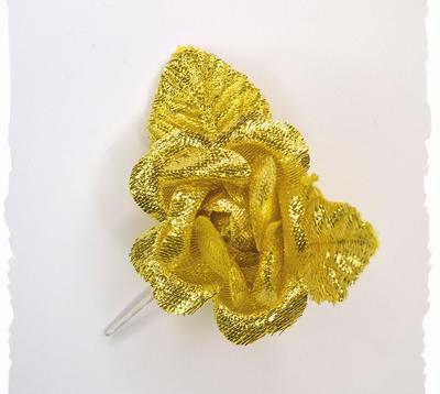 Bloem corsage op steel, goud