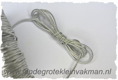 Elastish koord, 1,5mm dik, zilver, prijs per meter