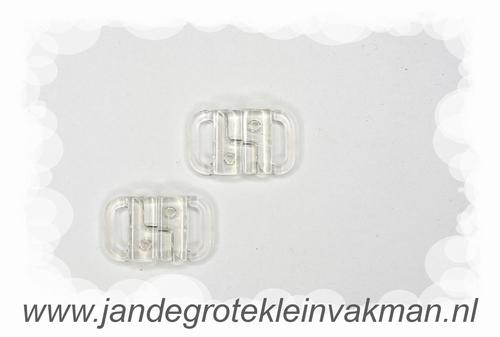 Bikini sluiting, transparant pvc, per twee, breedte 10mm