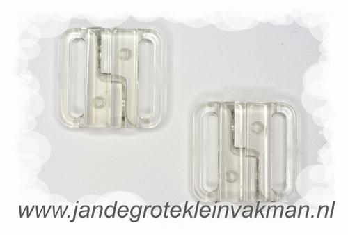Bikini sluiting, transparant pvc, per twee, breedte 25mm