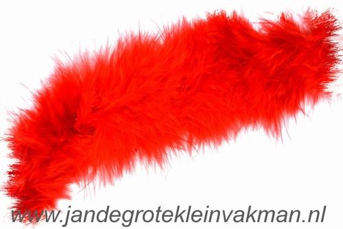 Maraboe band, ca. 45mm dik, rood, per meter