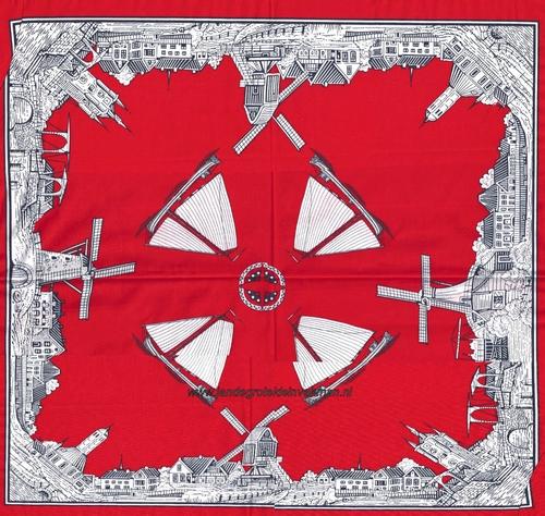 Bandana, Hollands motief, achtergrondkleur rood