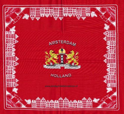 Bandana, Amsterdams motief, achtergrondkleur rood