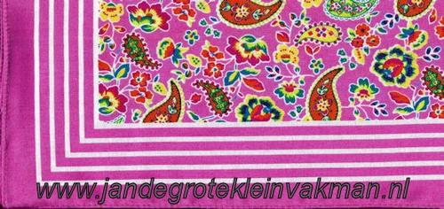 Bandana, fantasie motief met lelie, achtergrondkleur roze