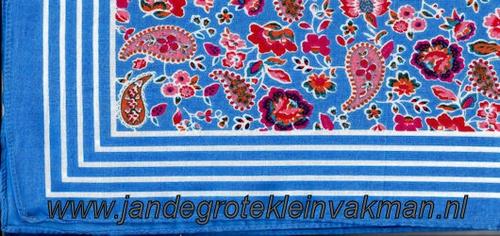 Bandana, fantasie motief met lelie, achtergrondkleur l-blauw