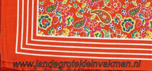 Bandana, fantasie motief,  achtergrondkleur oranje