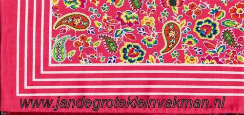 Bandana, fantasie motief,  achtergrondkleur roze