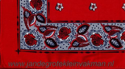Bandana, fantasie motief,  achtergrondkleur rood